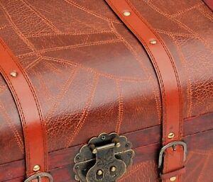 WOODEN TREASURE BOX Storage Trunk GIFT PIRATE BOX