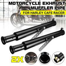 2tlg Motorrad Auspuff Schalldämpfer Auspufftopf mit Halter Für Harley Cafe Racer