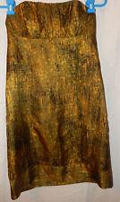 Ladies KENSIE Green Yellow Black 100% Silk Strapless Empire Waist Dress Size 4