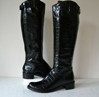 NEW DUNE BEAUTY BLACK CROC LEATHER KNEE HIGH BACK ZIP RIDING BOOTS UK 4 RRP £160