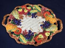 Fitz and Floyd Autumn Bounty Fall Oval Serving Platter Thanksgiving Handles Chip