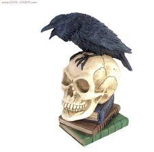 Edgar Allan Poe's The Raven Skull Statue - New,Rare Resign Raven Skull-Striking!