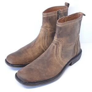 Roan Men's Crestone Burnished Brown Ankle Boots Size 9.5 EUR 42.5 Side Zip