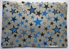 2 Sheets Simon Elvin BLUE Gift Wrap Matching Tag Birthday Wrapping Paper STARS