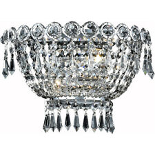 FRENCH EMPIRE CHROME WALL SCONCE ASFOUR CRYSTAL DINING ROOM OR BEDROOM BATHROOM