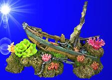 Aquarium Deko ❤️ 28 cm SCHIFFSWRACK ✚ KORALLEN ❤️ Boot Höhle Dekoration Zubehör