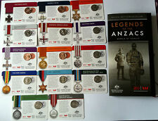 2017 LEGENDS OF ANZAC MEDALS COMPLETE ALBUM SET OF 14 COINS ON CARD