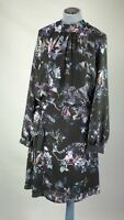 Reiss Black Floral Cut Out Detail Fit & Flare Dress Long Sleeves UK 12