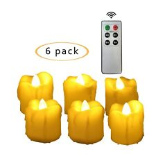 Flameless LED Battery Operated Votive Candles with Remote and Timer 6 Pack
