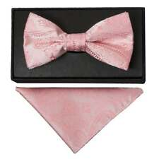Light Pink Paisley Handmade Mens Bow Tie and Handkerchief Set Dickie Bow Hanky