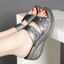 Womens Platform Wedge Sandals Ladies Summer Beach Slip On Slippers Mules ShoQA