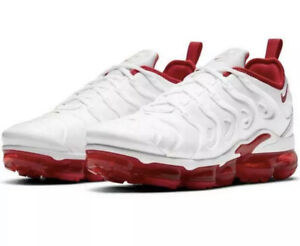 Nike Mens SZ 11 Air Vapormax Plus White and University Red Shoes DH0279-100