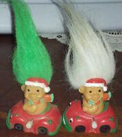 "Troll Dolls 2"" Tall Russ Wind-Up Christmas Santa Claus Green Hair"