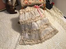 """Gorgeous Antique 11"""" Silk Blend Doll Skirt With Lots Of Lace Trim"""