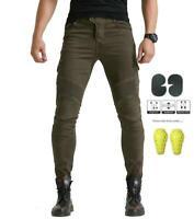 Men's Motorcycle Motorbike skinny denim jeans cargo Aramid lining CE Armour