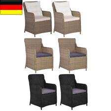 2x Gartenstuhl mit Polster Poly Rattan Gartensessel Sessel Stuhl Stühle Draussen