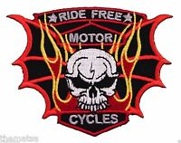RIDE FREE MOTORCYCLE WITH SKULL EMBROIDERED BIKER VEST JACKET PATCH