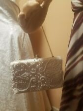 Vintage White hand beaded purse made in Japan beautiful 1950s