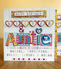 Sister & Auntie personalised birthday card. Special Sister/Auntie birthday card