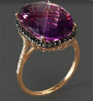 18K Rose Gold Plated Huge Alexandrite Ring Women Wedding Jewelry Gift Size 6-10