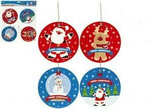 CHRISTMAS JUMBO PRINTED GIFT TAGS WITH STRING 14x14cm - Pack of 8 Xmas Tags