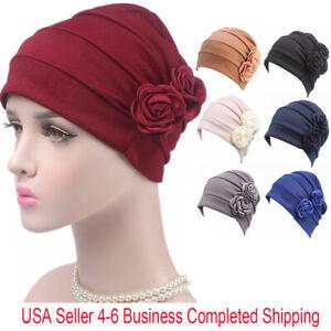 US Women Hat Flower Cancer Chemo Muslim Hijab Hair Loss Headwrap Turban Cap Wrap