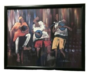 African American Band Playing Music Drums Guitar Cultural Art Framed Print 1991