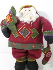 "Old World Santa Primitive Country Doll 19"" Handcrafted Fleece"