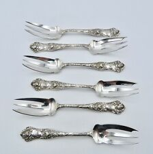 American Beauty by Mauser & Shiebler Sterling Dessert~ Fish Forks 3 Tine x6