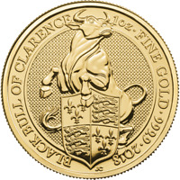 2018 U.K. 100 Pound 1 oz Gold Queen's Beast The Black Bull of Clarence BU