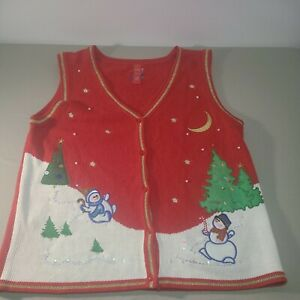 Ugly Christmas Sweater Vest Women's Size XL Party Holiday Snowman Fun 16-18