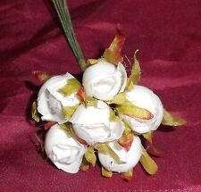White millinery Vintage style 6 silk Rose Bud fabric flower Cissy Hats! dolls