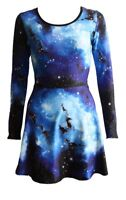 Women's Blue Galaxy Planets Cosmos Long Sleeve Flared Skater Swing Mini Dress