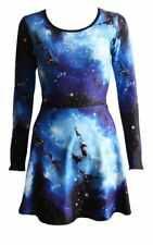 Women's Blue Galaxy Planets Cosmos Long Sleeve Flared Skater Swing Mini Dress