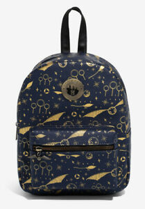 Harry Potter Bioworld Navy And Gold Quidditch Equipment Mini Backpack Bag