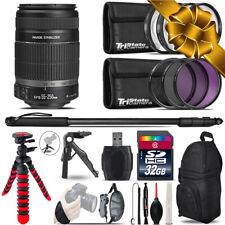 Canon EFS 55-250 IS II + MACRO, UV-CPL-FLD Filter + Monopad - 32GB Accessory Kit