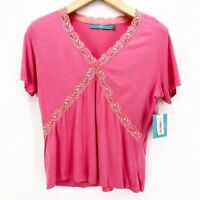 Sharon Anthony Womens T-Shirt Pink Short Sleeve V Neck Lace Trim Top S New