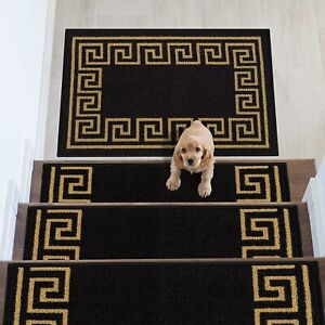 Greek Key Design Carpet Stair Treads/Mat Slip Resistant 8.5''x26.5''