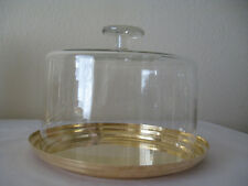EXQUISITE BRASS/GLASS DOMED CAKE/PIE PLATE - BRAND NEW