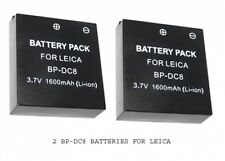 TWO 2X BP-DC8 Batteries for Leica X1 X2 Digital Camera