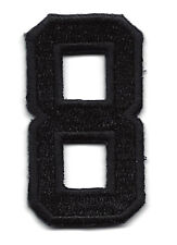 """NUMBERS  - Black Number """"8"""" (1 7/8"""") - Iron On Embroidered Applique/Numbers"""