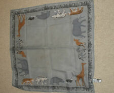 Elaine Gold Scarf Exotic Wild Animal Border Gray Black Brown White 20x20 #I