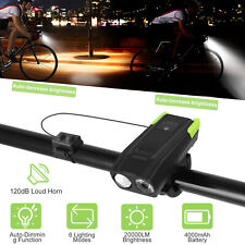 20000LM USB Rechargeable Bike Headlight LED Bicycle Front Head Light +120dB Horn