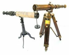 """Set Of 2  Antique Brass Telescope with Wooden Tripod Stand Nautical Decor 10"""""""