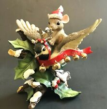 Charming Tails BoXeD Holly Jolly Friend Mouse & Bird Dangling Bells Fitz & Floyd