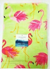 "New Cynthia Rowley Bright Neon Green+Pink Flamingo Cotton Beach Towel 36"" x 70"""