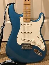 Fender Standard Stratocaster Electric Guitar Lake Placid Blue, Strap and Cable