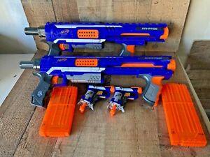 Lot of 2 Nerf Rampage N-Strike Elite Blue Dart Gun Blaster Jolt