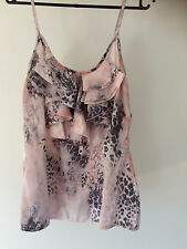 Ally Size S Grey and Pink Patterned Silky Top