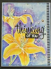Thinking of You  - WATER COLORED LILIES - handmade card by DEE